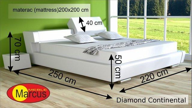 łóżko kontynentalne diamond 200x200 cm