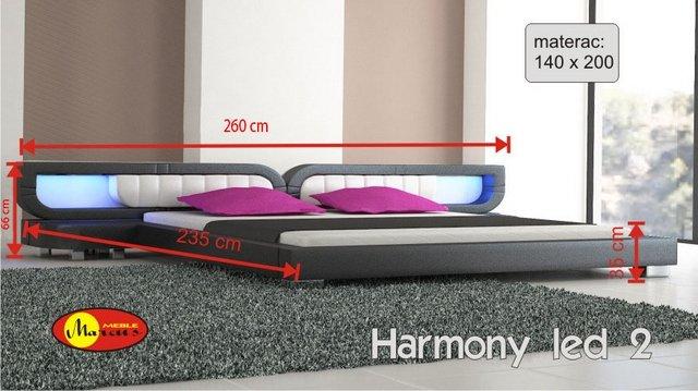 łóżko harmony 2 led 140x200 cm