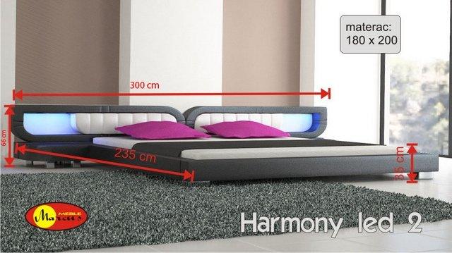 łóżko harmony 2 led 180x200 cm