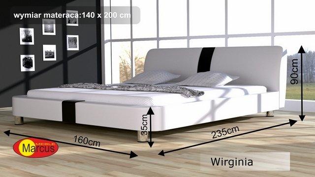 łóżko wirginia tapicerowane 140x200 cm