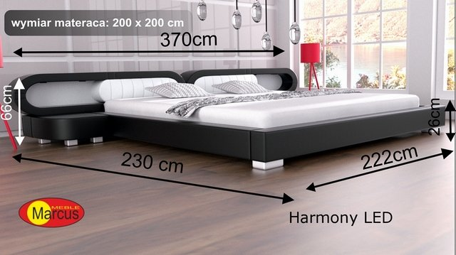 łóżko harmony led 200x200 cm