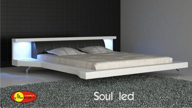 łóżko tapicerowane soul led skóra ekologiczna biała